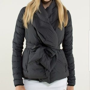 Lululemon enfold down wrap jacket,  black sz8